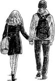 Students couple on a walk Stock Images