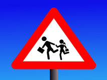Students crossing sign Stock Photography