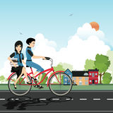 Students Cycling Royalty Free Stock Image
