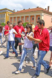 Students' dance at graduate parade Royalty Free Stock Image