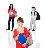 Students of different ages. With a backpack and folder isolated on white stock photo