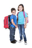 Students of different ages with a backpack Royalty Free Stock Photo