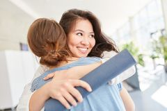 Students after diploma completion. With successful passed test royalty free stock image
