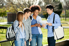 Students Discussing In Campus Stock Photography