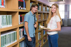 Students discussing in the library Stock Images