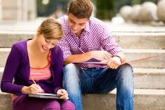 Students doing homework Stock Photos