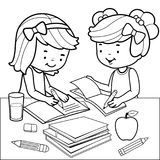 Students doing homework. Black and white coloring book page. Vector Illustration of two girls sitting on a desk and doing their homework. Desk is full of books Stock Photo