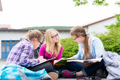 Students doing homework for school together Royalty Free Stock Images