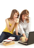 Students doing homework together Royalty Free Stock Photos