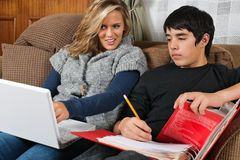 Students doing homework together Stock Photography