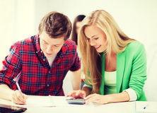 Students doing mathematics at school Royalty Free Stock Photography