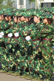 Students doing military training Stock Images