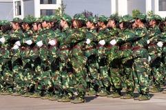 Students doing military training Stock Image