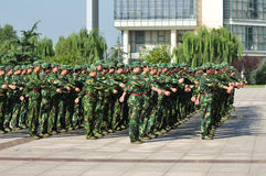Students doing military training Royalty Free Stock Photo