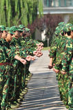 Students doing military training Royalty Free Stock Photography