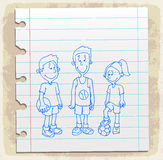 Students drawn  on paper note, vector illustration Royalty Free Stock Photo