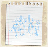 Students drawn  on paper note, vector illustration Stock Image