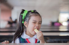 Students eat snacks. Delicious, yummy Stock Images