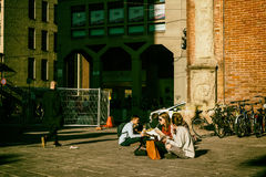 Students eating lunch in Bologna Royalty Free Stock Photo