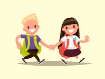 Students Elementary school . Schoolboy and schoolgirl go togethe. R hand in hand. Vector illustration of a flat design Stock Image