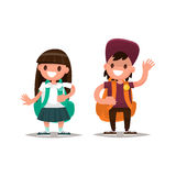 Students Elementary school. Schoolboy and schoolgirl together. V. Ector illustration of a flat design Royalty Free Stock Image