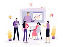 Students or employees take an online course, watching a video with infographics and discuss it. vector illustration