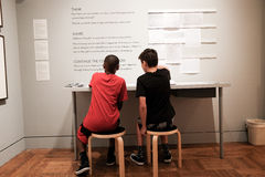 Students enjoy interactive display at Portland Art Museum Royalty Free Stock Photo