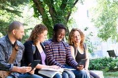 Students enjoying tablet. Students enjoying information on tablet royalty free stock images