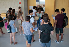 Students before entering classroom for their final summer exam Stock Image