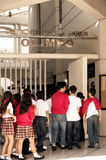 Students entering a museum in Merida, Yucatan, Mexico Royalty Free Stock Image