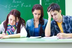 Students on exam  in class Stock Photo