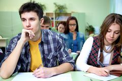 Students on exam  in class Royalty Free Stock Photography