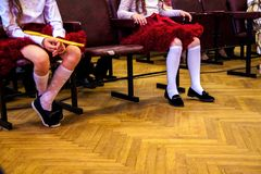 Students exercising in dance class. Dance performance at school. stock image