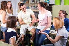 Students at extension courses. Adult students are talking during a small break at extension courses Stock Photography