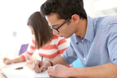 Students filling form applications Royalty Free Stock Photos