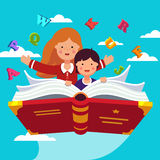 Students flying on a magical primer ABC book. Boy and girl student and preschooler flying in the sky together on a magical primer ABC book. Knowledge power Royalty Free Stock Image