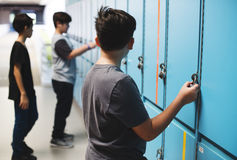 Students friends at lockers room Stock Images