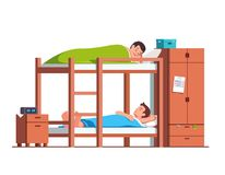 Students friends sleeping on bunk bed in dorm room Royalty Free Stock Photo