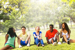 Students Friendship Team Relaxation Holiday Concept Stock Images