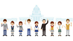 Students in front of Japanese National Diet Building Royalty Free Stock Image
