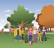 Students in front of university. Cartoon Students in front of university garden Royalty Free Stock Photography