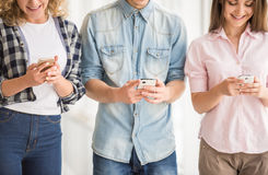 Students with gadgets royalty free stock images