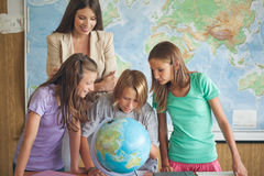 Students in a Geography Lesson Stock Photography