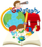 Students and geography subject. Illustration Royalty Free Stock Photography