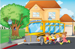 Students getting on school bus. Illustration Stock Photos