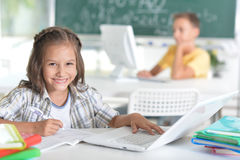 Students girl and boy at class Stock Photos