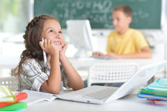 Students girl and boy at class Stock Photography