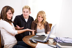 Students: Girl Upset Over Seeing Something On Laptop Royalty Free Stock Photos