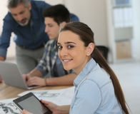 Students girl using tablet in class Stock Photo