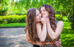 Students girls having fun outside Royalty Free Stock Images